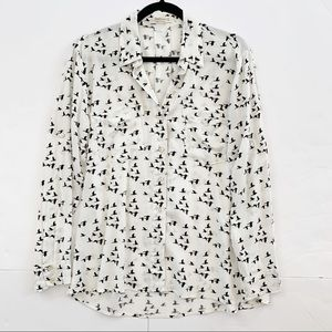 Black and White Basic Cotton Button Up Top